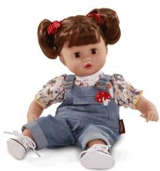 Hračka dětská - PANENKA MUFFIN hnědé vlásky - 33cm boty tmavě rů