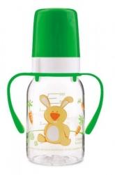 Lahev kojenecká plastová s úchyty – ZAJÍČEK se zelenou - 120ml