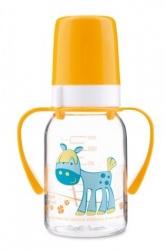 Lahev kojenecká plastová s úchyty – ZEBRA se žlutou - 120ml