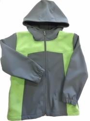 Bunda dětská jarní - podzimní KAPUCE softshell šedá se zelenou -