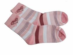 Ponožky dětské bavlna - SRDÍČKO proužky lososové - vel.19-20 (ob