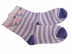 Ponožky dětské bavlna - SRDÍČKA proužky fialové - vel.19-20 (obu