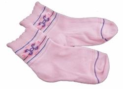 Ponožky dětské bavlna - KYTIČKA světle růžové - vel.13-14 (obuv