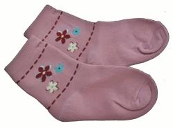 Ponožky dětské bavlna - TŘI KYTIČKY starorůžové - vel.13-14 (obu