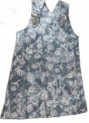 Šaty dětské riflové - POTISK KYTKY modré - vel.98-104