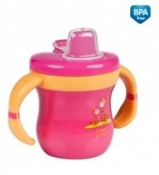 Hrníček dětský plastový s pítkem - ŽIRAFKY růžový