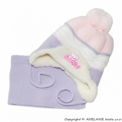 Čepice zimní s kožíškem a šálou - SNOW fialovo-růžová - vel.6-9m
