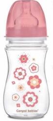 Lahev kojenecká se širokým hrdlem - KYTIČKY růžové - 240ml - Can
