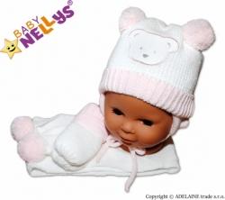 Čepice zimní se šálou a rukavicemi - MEDVÍDEK bílo-růžová - vel.