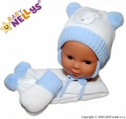 Čepice zimní se šálou a rukavicemi - MEDVÍDEK bílo-modrá - vel.2