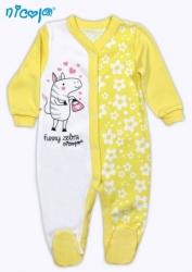 Overal kojenecký bavlna - ZEBRA kytičky bílo-žlutý - vel.98