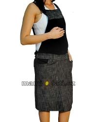 Těhotenské šaty - sukně S LACLEM černý melír velikost S