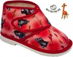 Papuče dětské KRTEČEK červené - kotníkové uzavřené - vel.18,5cm