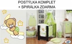 Postýlka dětská s komplet výbavou - DOBROU NOC zelená nebesa šif
