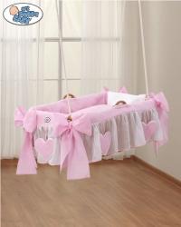 Koš pro miminko závěsný s výbavou - SRDÍČKA růžový - My Sweet Ba