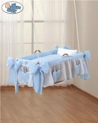 Koš pro miminko závěsný s výbavou - SRDÍČKA modrý - My Sweet Bab