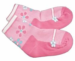 Ponožky dětské bavlna - KVĚTINOVÝ VZOR tmavě růžové - vel.13-14