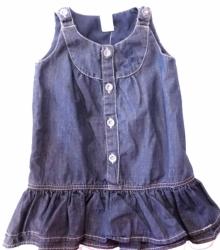 Šaty dětské riflové - MOTÝLCI tmavě modré - vel.98