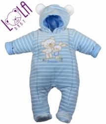 Kombinéza kojenecká zimní - MÉĎA SE ZAJÍČKEM modrá s proužky - v
