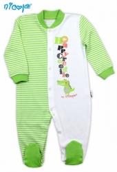 Overal kojenecký bavlna - KROKODÝL proužky zeleno-bílé - vel.98