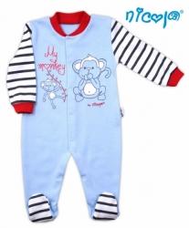 Overal kojenecký bavlna - MY MONKEY modrý - vel.98
