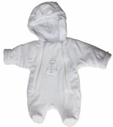 Kombinéza kojenecká samet - SNĚHULÁK bílá - vel.62