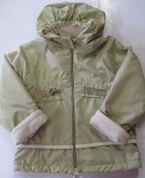 Bunda dětská jarní - podzimní VÝŠIVKA s fleecem světle zelená -