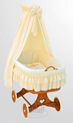 Koš proutěný pro miminko s nebesy a výbavou - MARTIN béžový