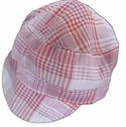 Čepice dětská letní - KŠILTOVKA kostka červeno-růžová - vel.50-5