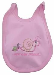 Bryndák dětský bavlna s fólií - ŠNEČEK růžový - malý zavazovací