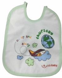Bryndák dětský froté s fólií - LETADLO bílý se zelenou - malý za