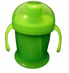 Hrníček dětský nevylévací s pítkem - JEDNOBAREVNÝ zelený - 250ml
