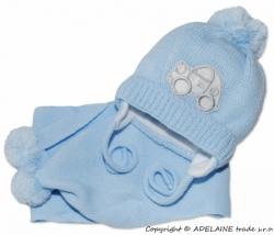 Čepice zimní se šálou - AUTÍČKO modrá - vel.2-6měs.