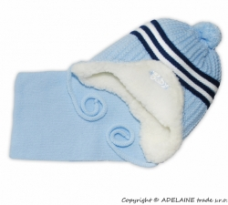 Čepice zimní s kožíškem a šálou - PROUŽKY modrá - vel.6-9měs.