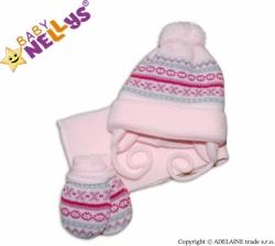 Čepice zimní se šálou a rukavicemi - PLETENINA VZOR růžová - vel