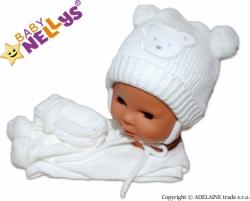 Čepice zimní se šálou a rukavicemi - MEDVÍDEK bílá - vel.2-6měs.