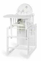 Židlička jídelní se stolečkem dřevěná - SOVIČKY bílá - Kups