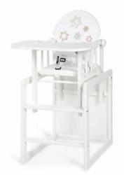 Židlička jídelní dřevěná se stolečkem - HVĚZDIČKY bílá - Klups