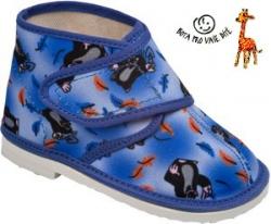 Papuče dětské KRTEČEK modré - kotníkové uzavřené - vel.18,5cm