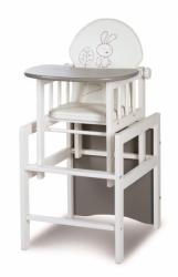 Židlička jídelní se stolečkem dřevěná - ZAJÍČEK DE LUXE bílo-šed