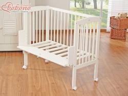 Postýlka dřevěná - MINI Fabio s matrací - bílá - 94x44cm - Bobon