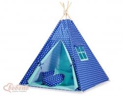 Dětský stan TÝPÍ - HVĚZDIČKY modré s mátovou - Bobono varianta p