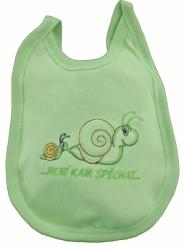 Bryndák dětský bavlna s fólií - ŠNEČEK zelený - malý zavazovací