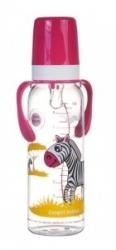 Lahev kojenecká plastová Canpol babies s úchyty – ZEBRA s růžov