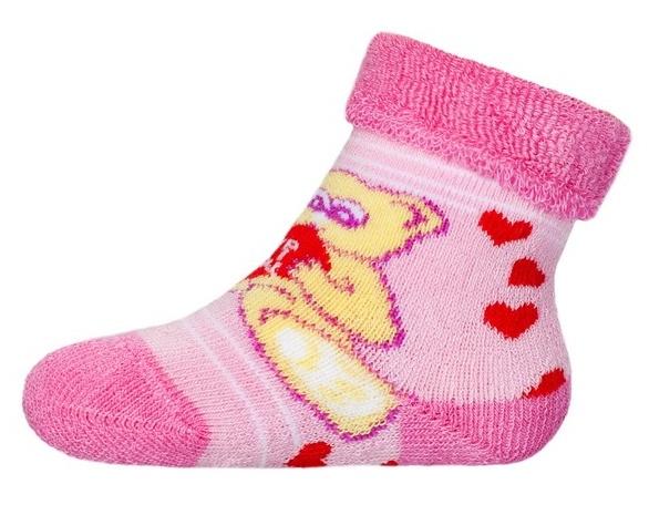 65bc684630f Ponožky kojenecké froté - MÉĎA SE SRDCEM růžové - vel.0-3měs.