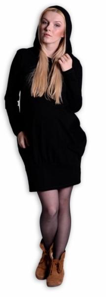 40ae49e7034 Těhotenské šaty dlouhý rukáv - KAPUCE černé