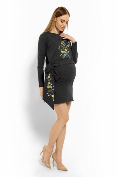 7984ba1be5f Těhotenské šaty tunika i kojící krátký rukáv - SE STUHOU grafit - Bee MaaMaa